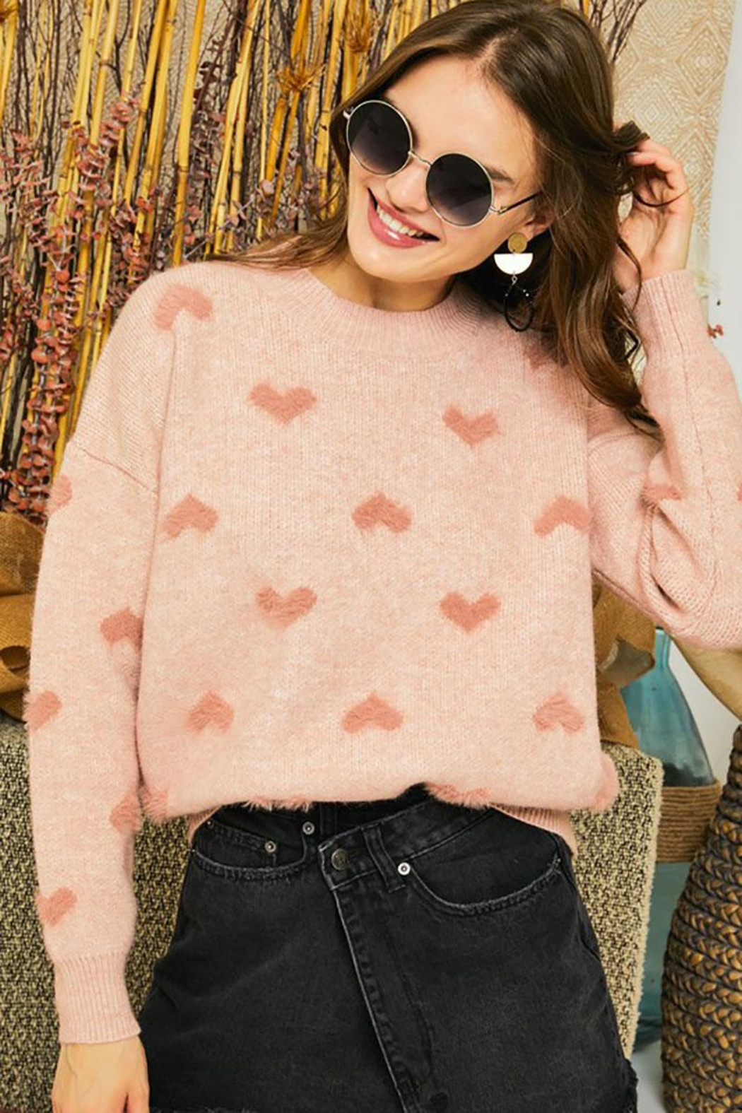 Mint Cloud Boutique Super Soft Heart Print Knit Crew Neck Cozy Pullover Sweater - Main Image