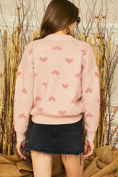 Mint Cloud Boutique Super Soft Heart Print Knit Crew Neck Cozy Pullover Sweater - Alternate List Image