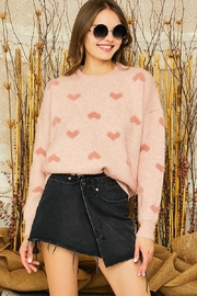 Mint Cloud Boutique Super Soft Heart Print Knit Crew Neck Cozy Pullover Sweater - Side cropped