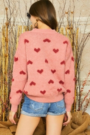 Mint Cloud Boutique Super Soft Heart Print Knit Crew Neck Cozy Pullover Sweater - Back cropped