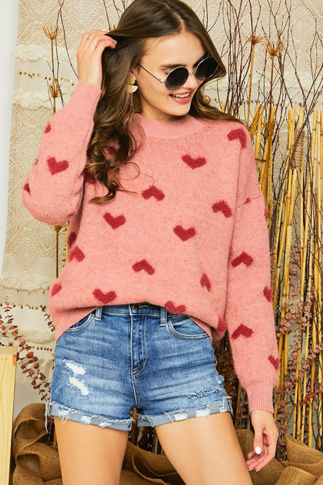 Mint Cloud Boutique Super Soft Heart Print Knit Crew Neck Cozy Pullover Sweater - Side Cropped Image