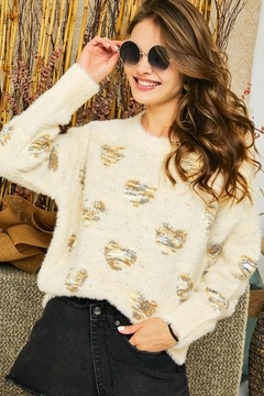 Shoptiques Product: Super Soft Multi Color Heart Print Cozy Pullover Sweater