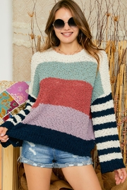 Adora Super Soft Multi Color Stripe Oversize Chenille Popcorn Yarn Pullover Sweater Jumper - Product Mini Image