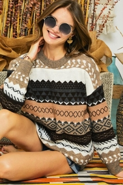 Adora Tribal Aztec Patterned Knit Sweater Pullover Jumper - Product Mini Image