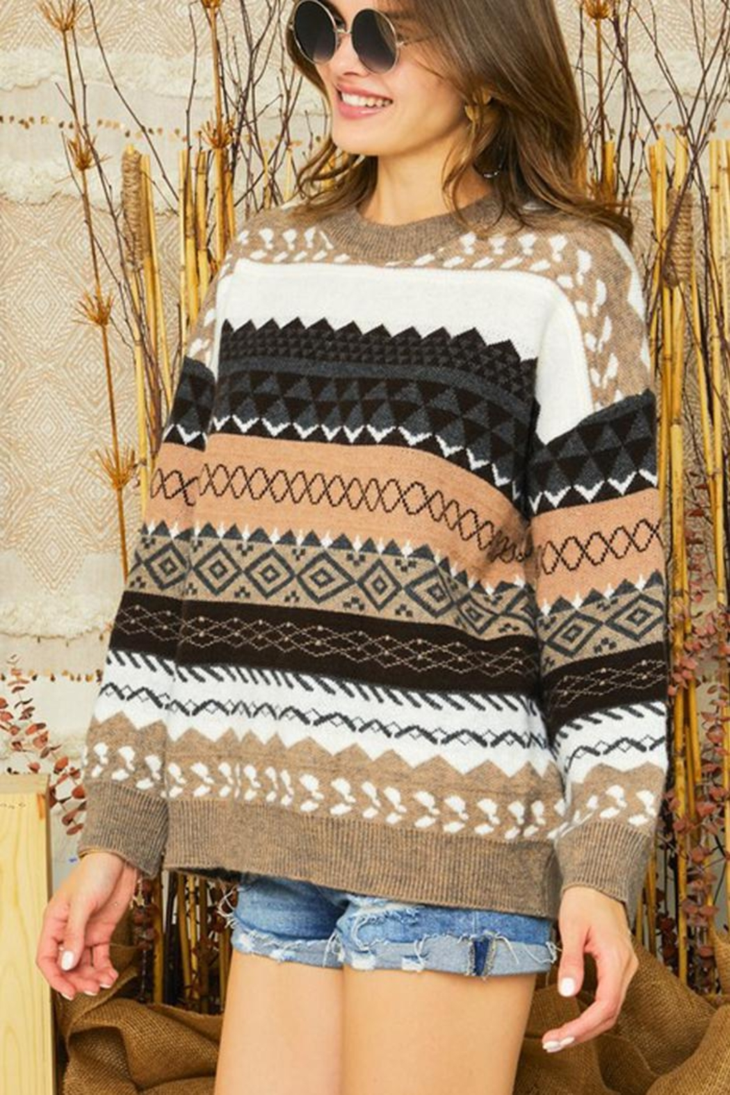 Adora Tribal Aztec Patterned Knit Sweater Pullover Jumper - Side Cropped Image