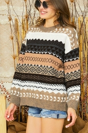 Adora Tribal Aztec Patterned Knit Sweater Pullover Jumper - Side cropped