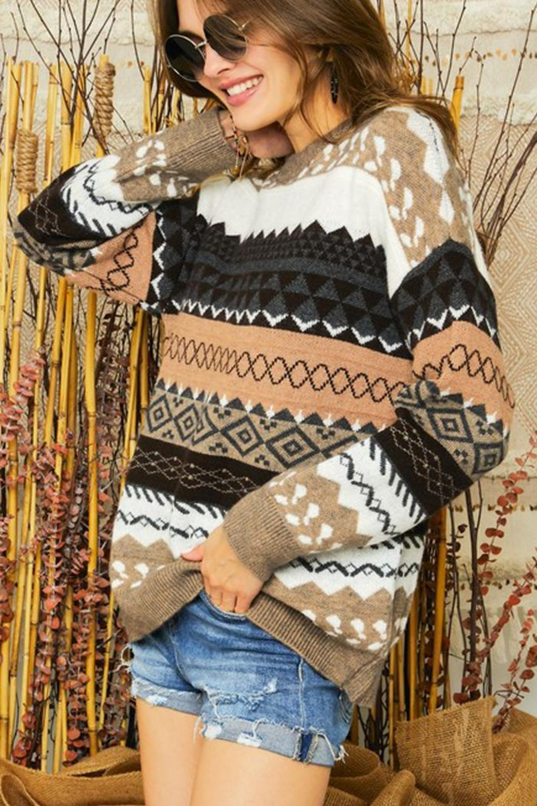 Adora Tribal Aztec Patterned Knit Sweater Pullover Jumper - Back Cropped Image