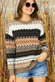 Adora Tribal Aztec Patterned Knit Sweater Pullover Jumper - Front full body