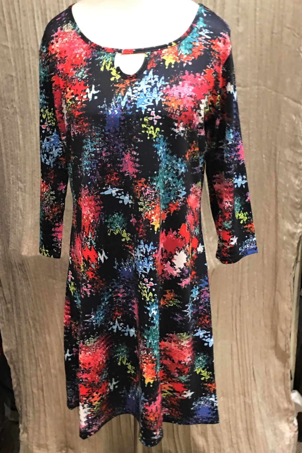 Adore Colorburst Keyhole Dress - Front Cropped Image