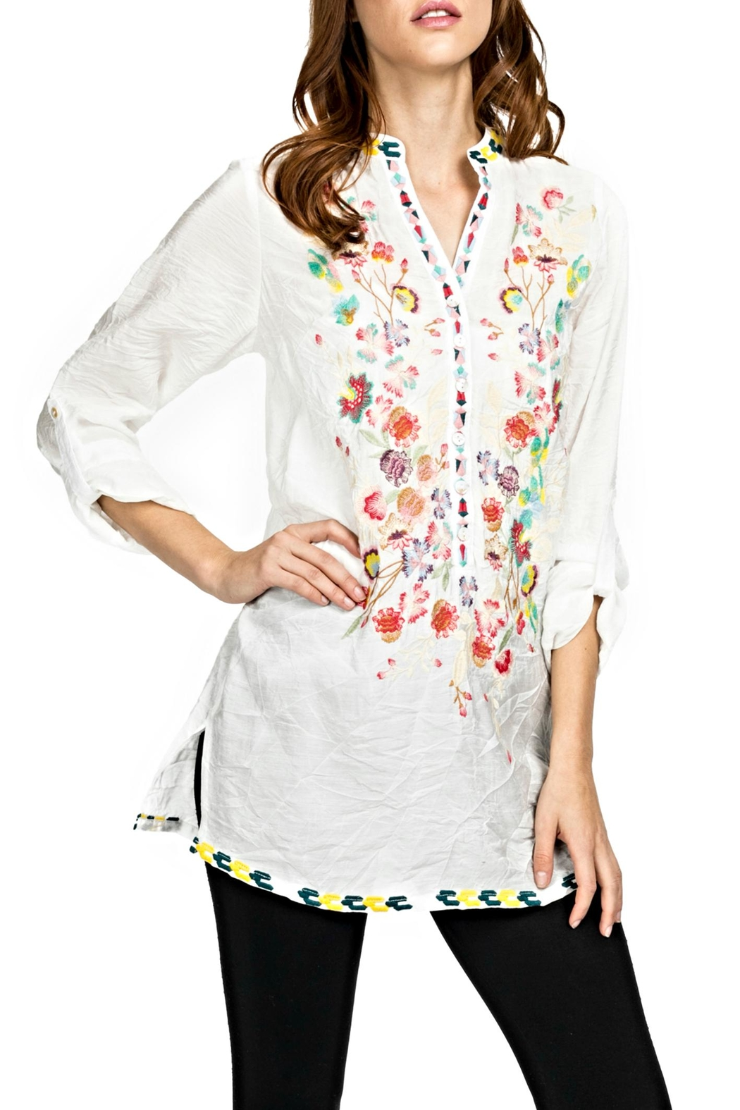 Adore Embroidered Mandarin Blouse - Main Image