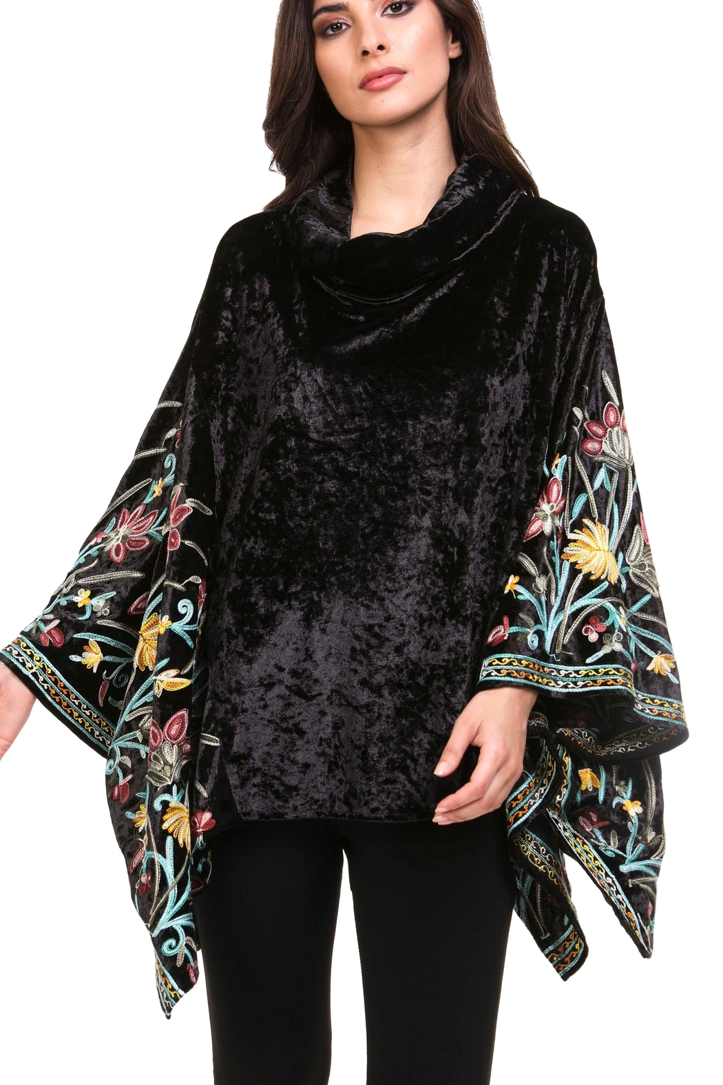 Adore Embroidered Velvet Poncho - Main Image