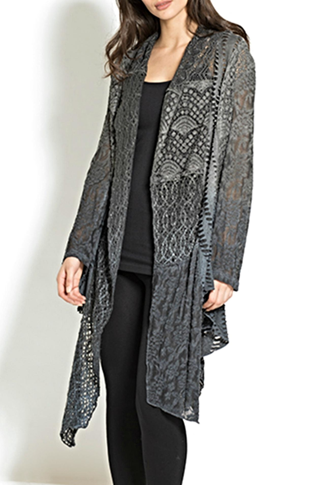 Adore Lace Multifabric Cardigan - Front Cropped Image