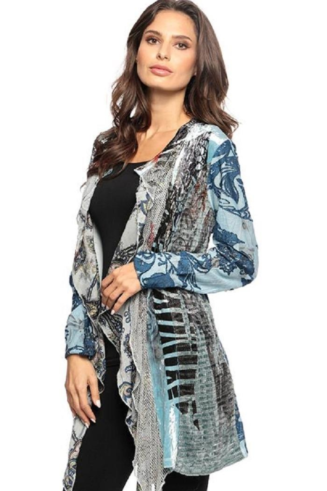 Adore Mixed Burnout Cardigan - Main Image