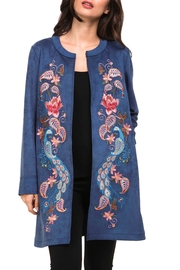 Adore Peacock Suede Embroidery Jacket - Product Mini Image