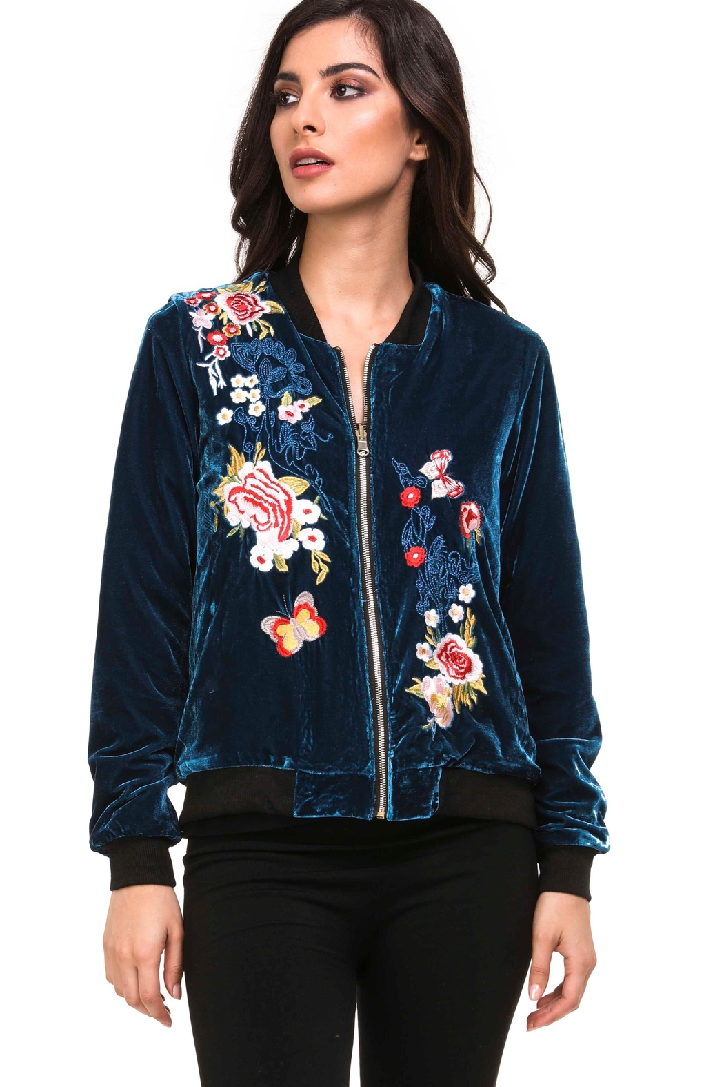 Adore Reversible Velvet Bomber Jacket - Front Cropped Image