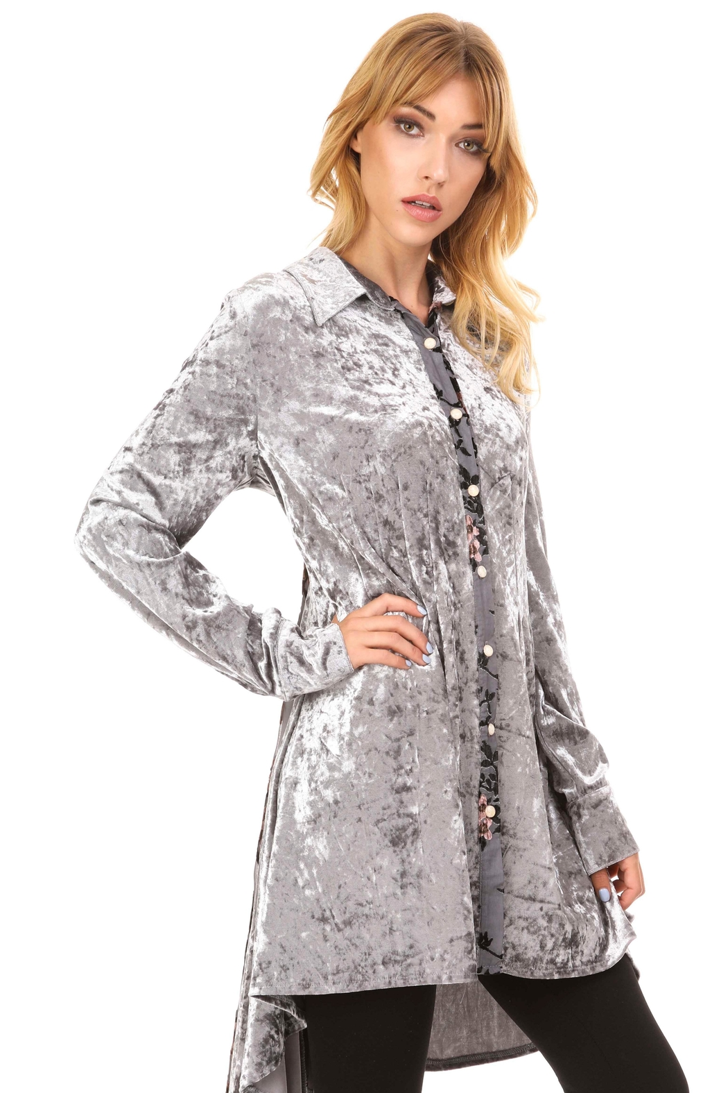 Adore Velvet Floral Inlay Tunic - Front Full Image
