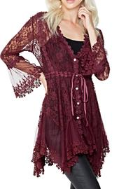 Adore Apparel Burgundy Lace Cardigan - Product Mini Image