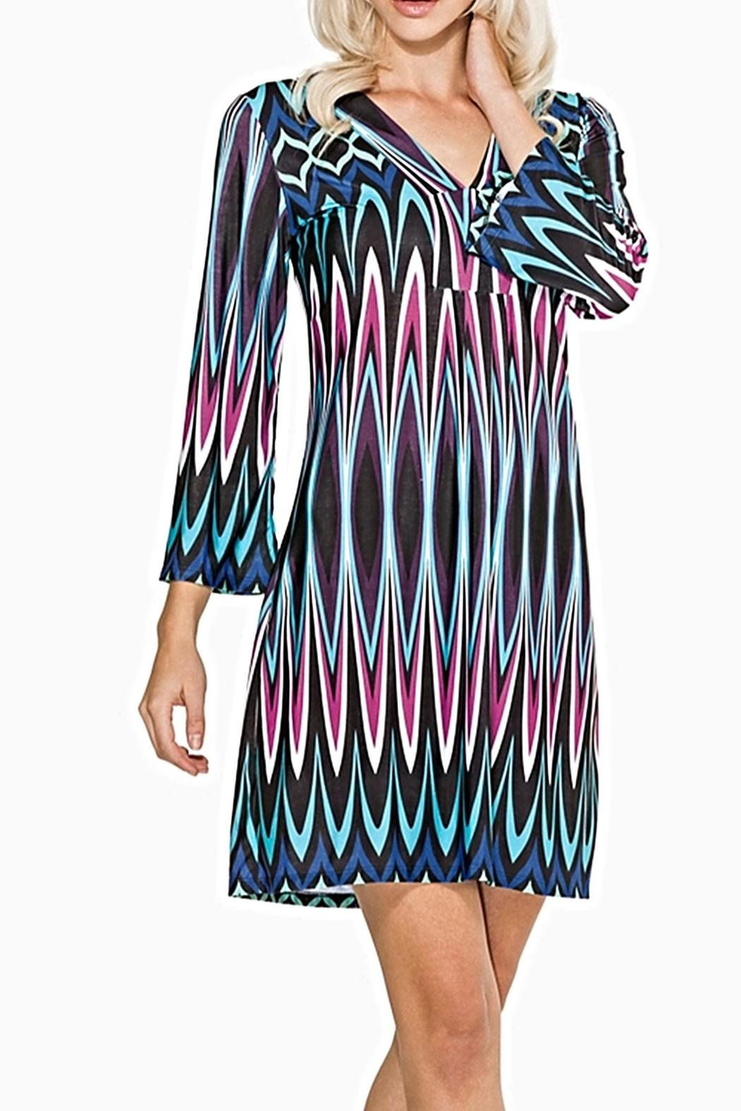 Adore Apparel Colorful Chevron Tunic - Front Cropped Image
