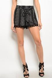 Adore Clothes & More Black Cream Shorts - Front cropped