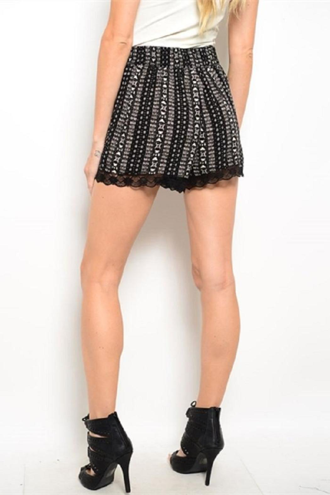 Adore Clothes & More Black Cream Shorts - Front Full Image