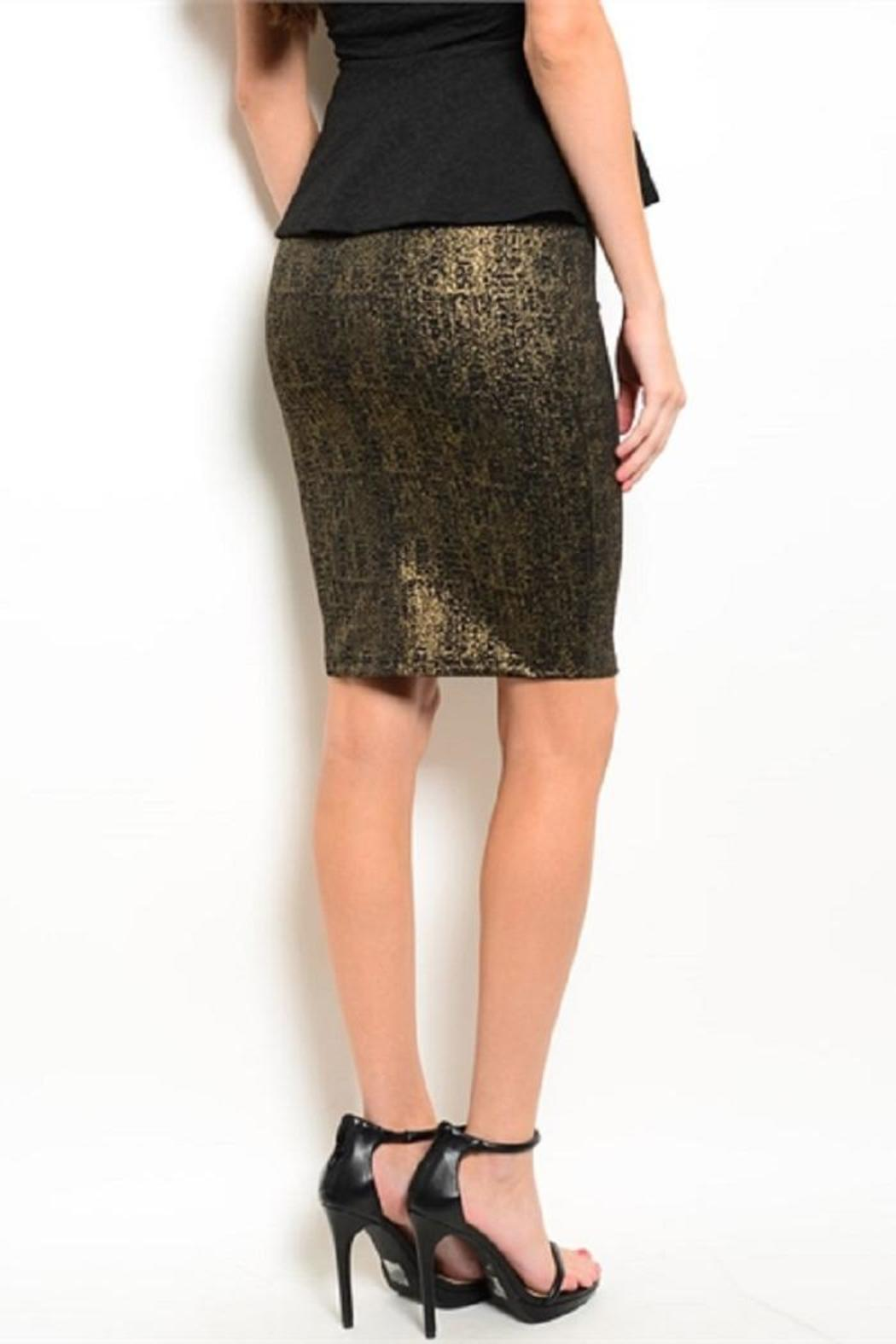 Adore Clothes & More Black Gold Skirt - Front Full Image