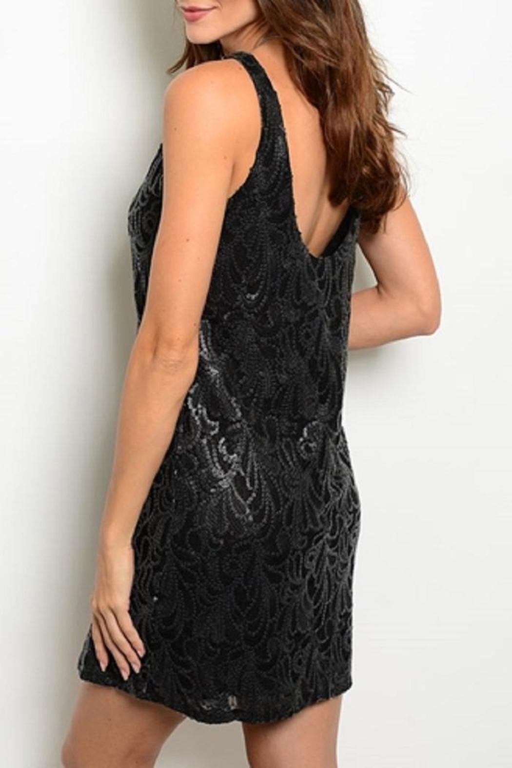 Adore Clothes & More Black Patterned Dress - Front Full Image