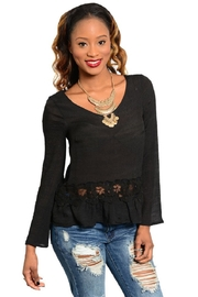 WFS Black Lace Insert Long Sleeve Top - Product Mini Image