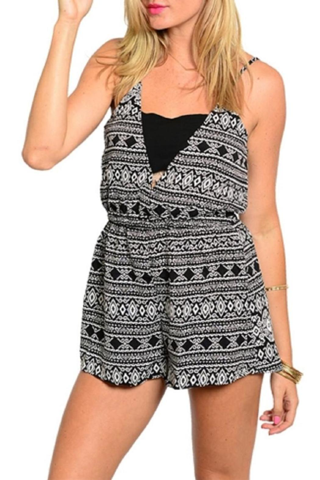 Adore Clothes & More Black White Romper - Front Cropped Image