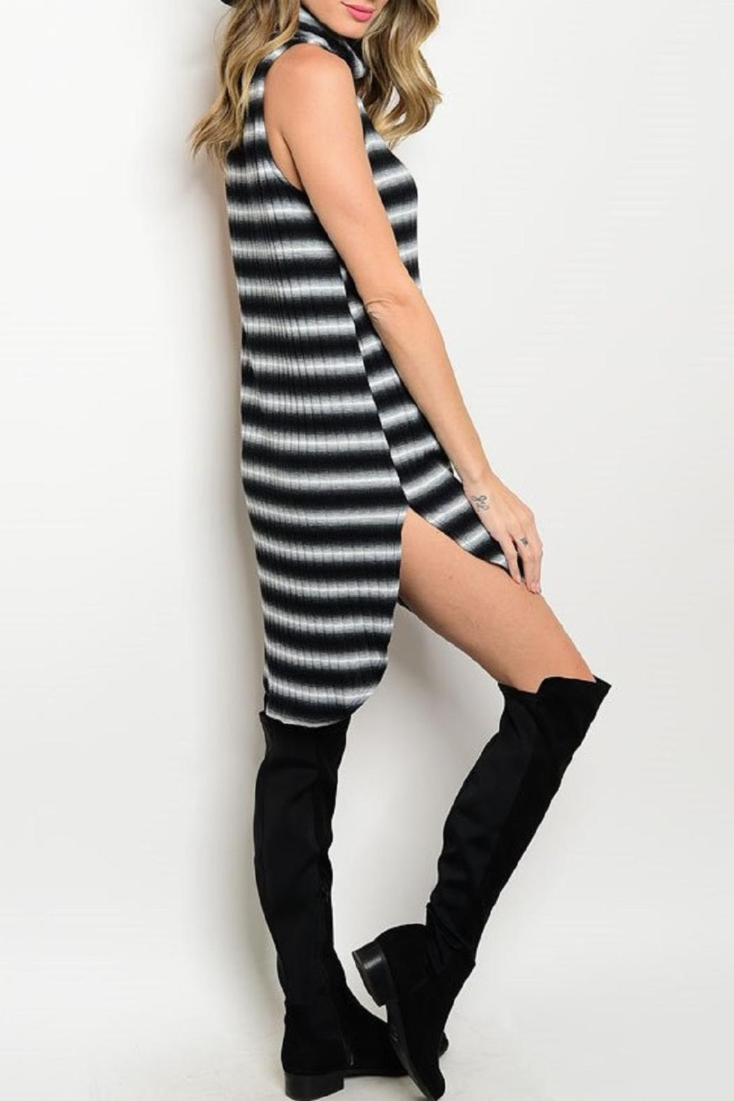 Adore Clothes & More Black/white Striped Dress - Front Full Image