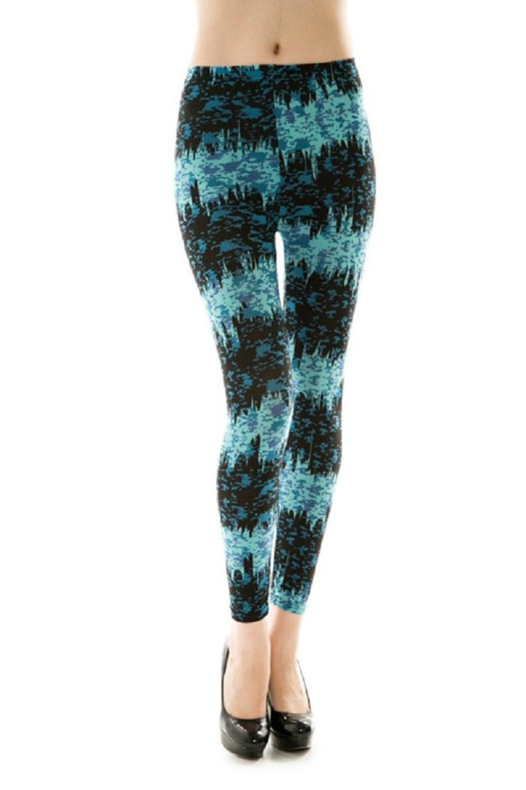 Adore Clothes & More Blue Black Leggings - Front Cropped Image