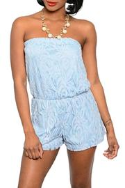 Adore Clothes & More Blue Lace Romper - Product Mini Image