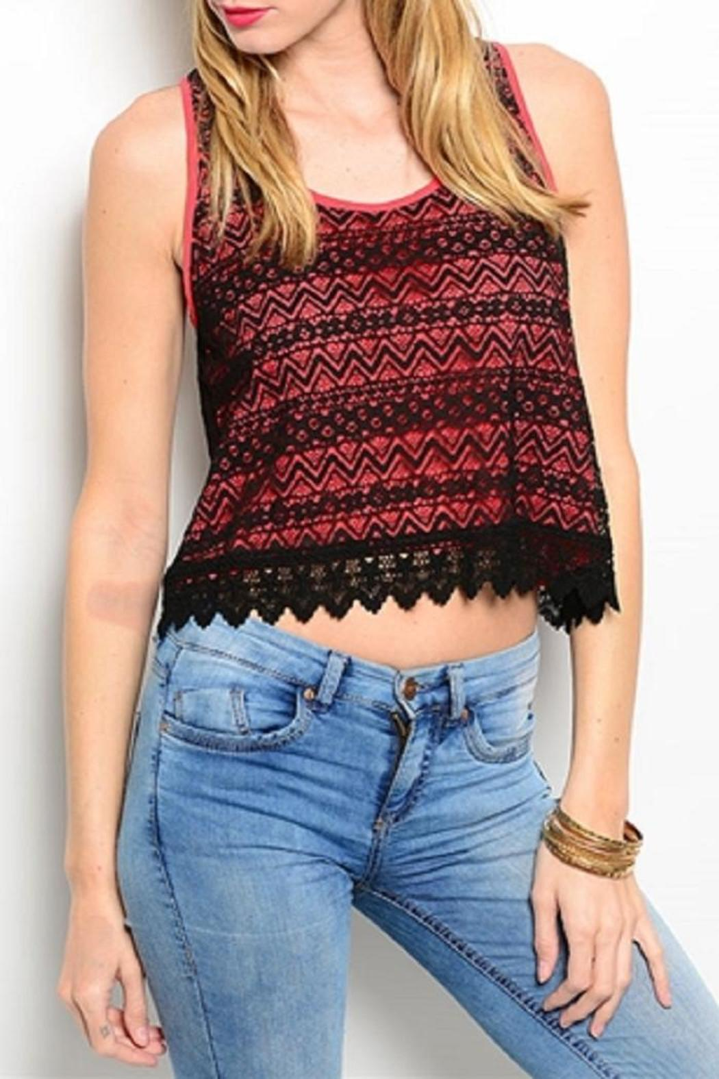 Adore Clothes & More Coral Lace Top - Main Image