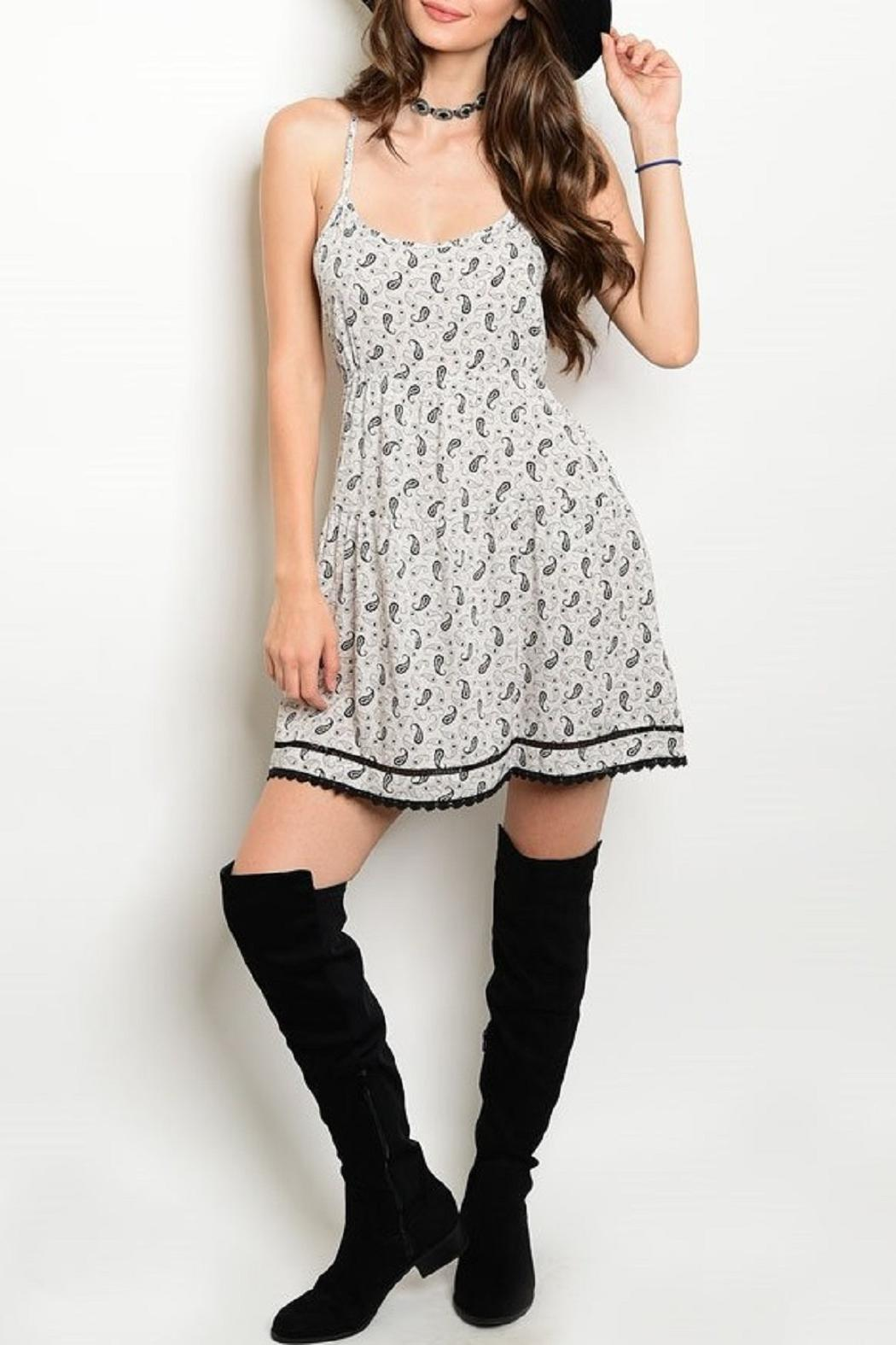 Adore Clothes & More Gray/black Paisley Dress - Front Cropped Image