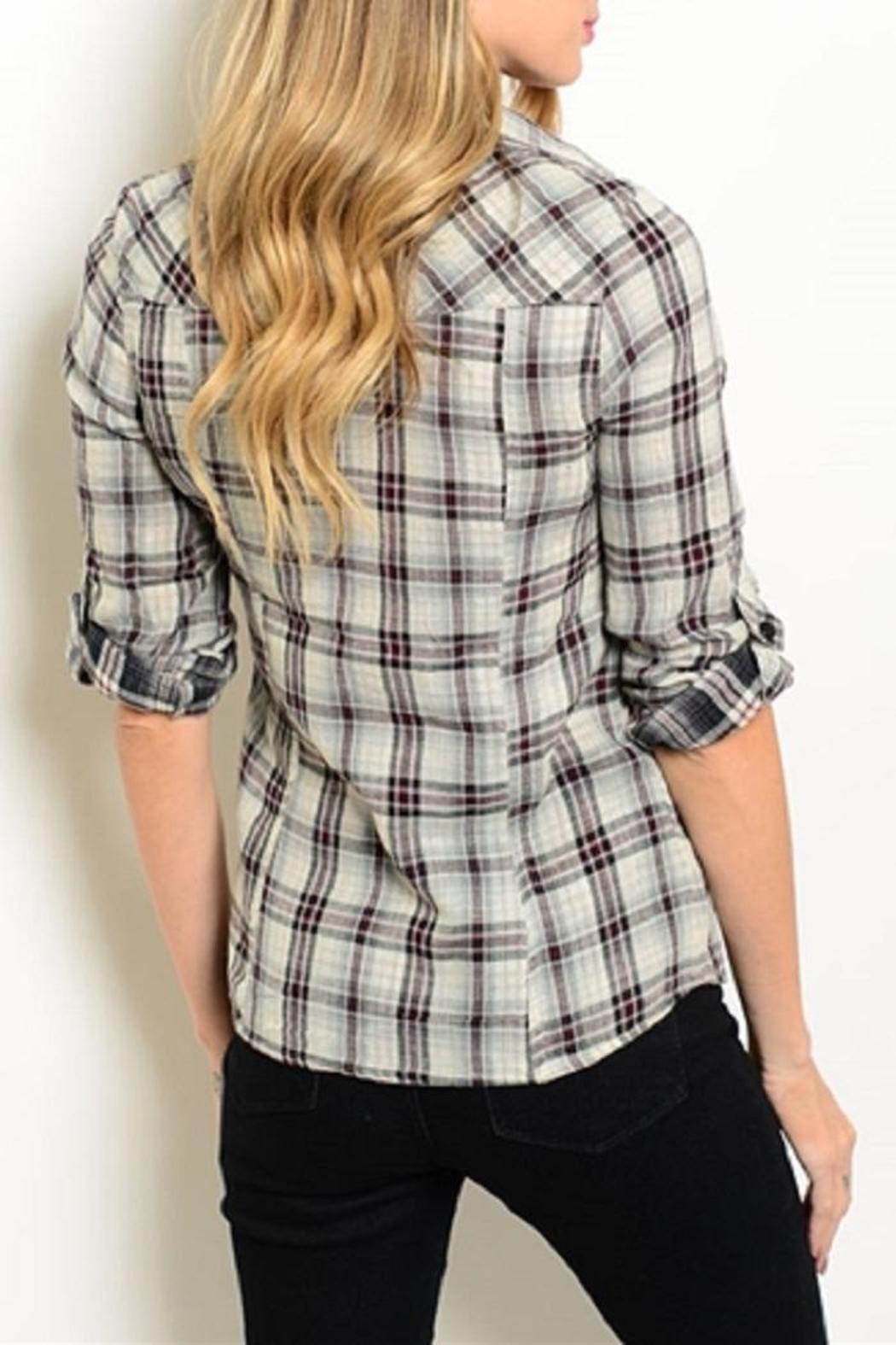 Adore Clothes & More Grey Red Top - Front Full Image
