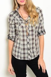 Adore Clothes & More Grey Red Top - Front cropped