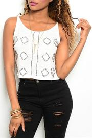 Adore Clothes & More Ivory Beaded Top - Product Mini Image