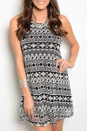 Adore Clothes & More Ivory/black Summer Dress - Product Mini Image