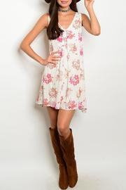 Adore Clothes & More Ivory Floral Dress - Product Mini Image