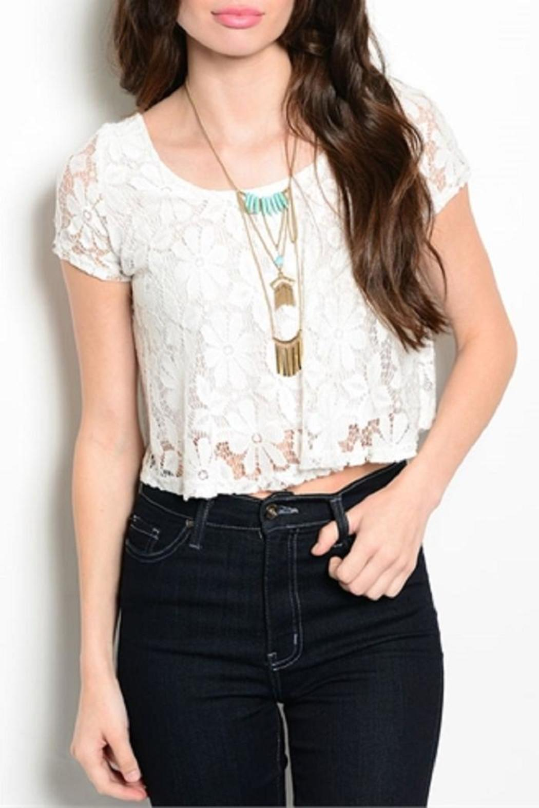 Adore Clothes & More Lined Lace Top - Front Cropped Image