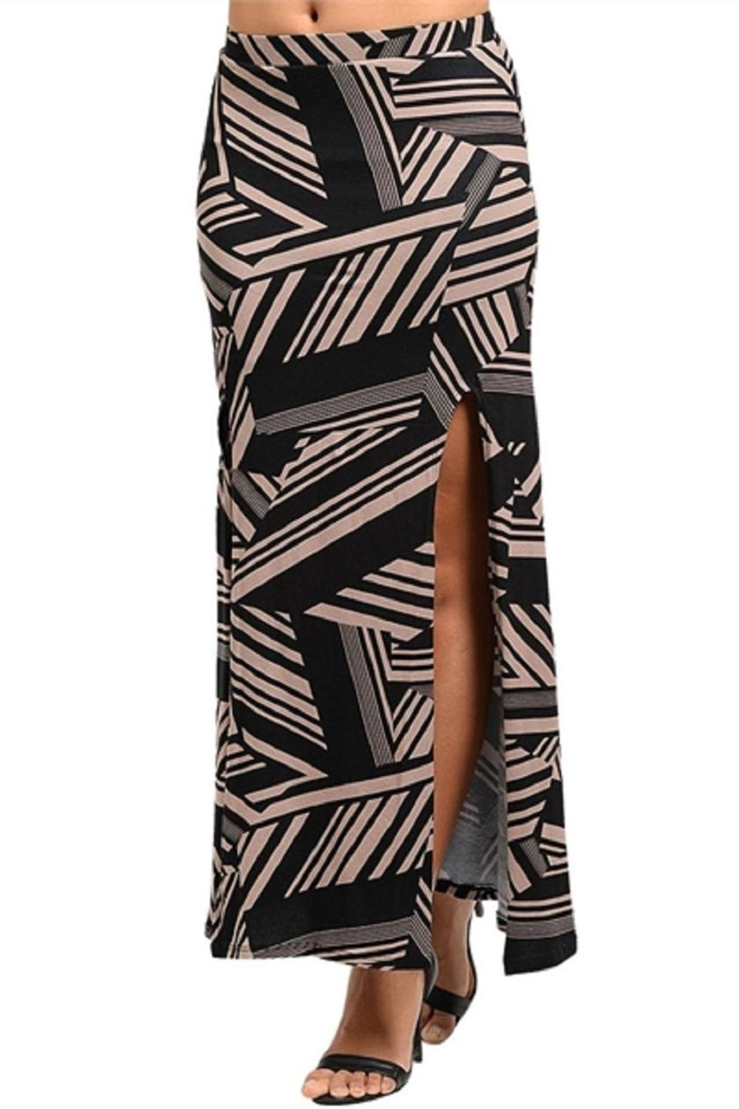 Adore Clothes & More Mocha Black Skirt - Front Cropped Image