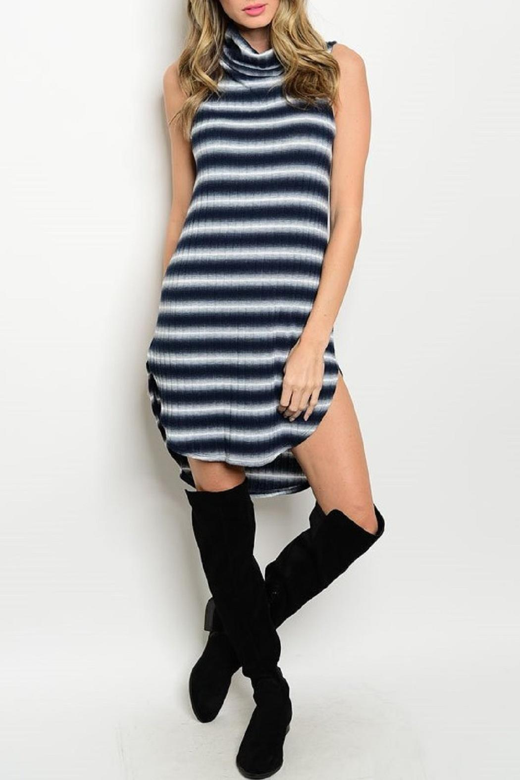 Adore Clothes & More Navy White Striped Dress - Main Image