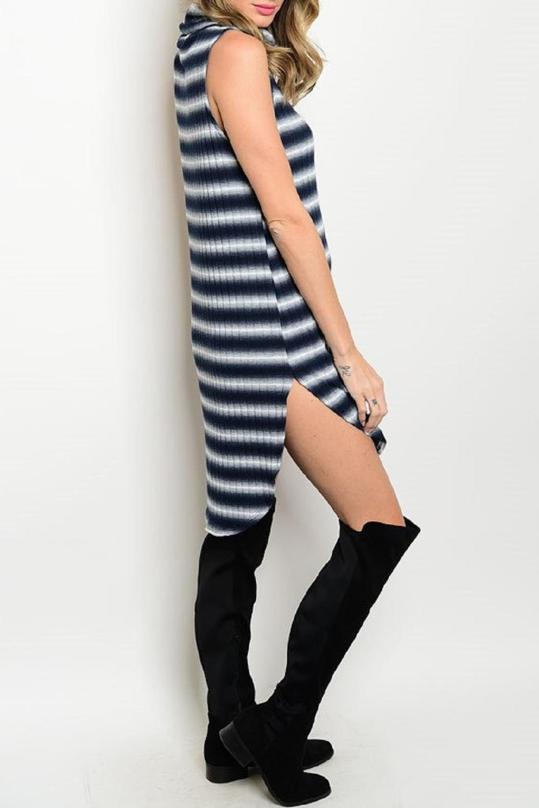 Adore Clothes & More Navy White Striped Dress - Front Full Image