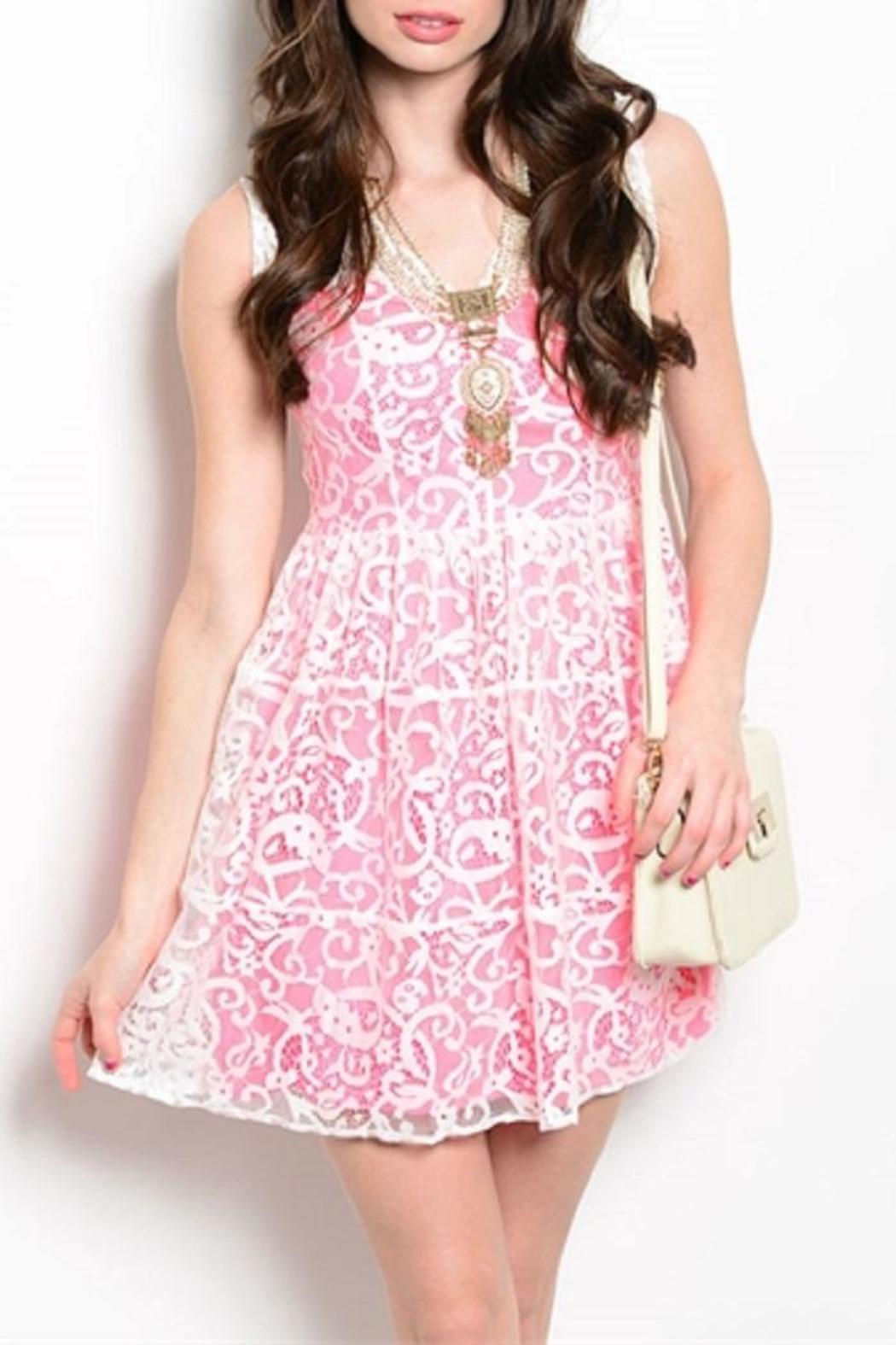 Adore Clothes & More Pink White Dress - Main Image