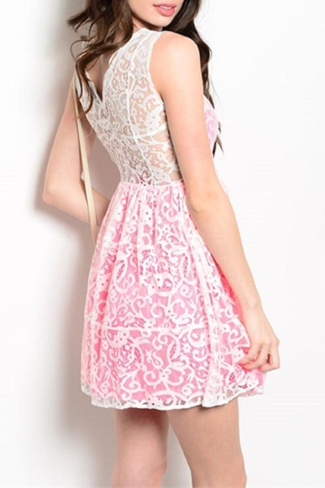 Adore Clothes & More Pink White Dress - Front Full Image