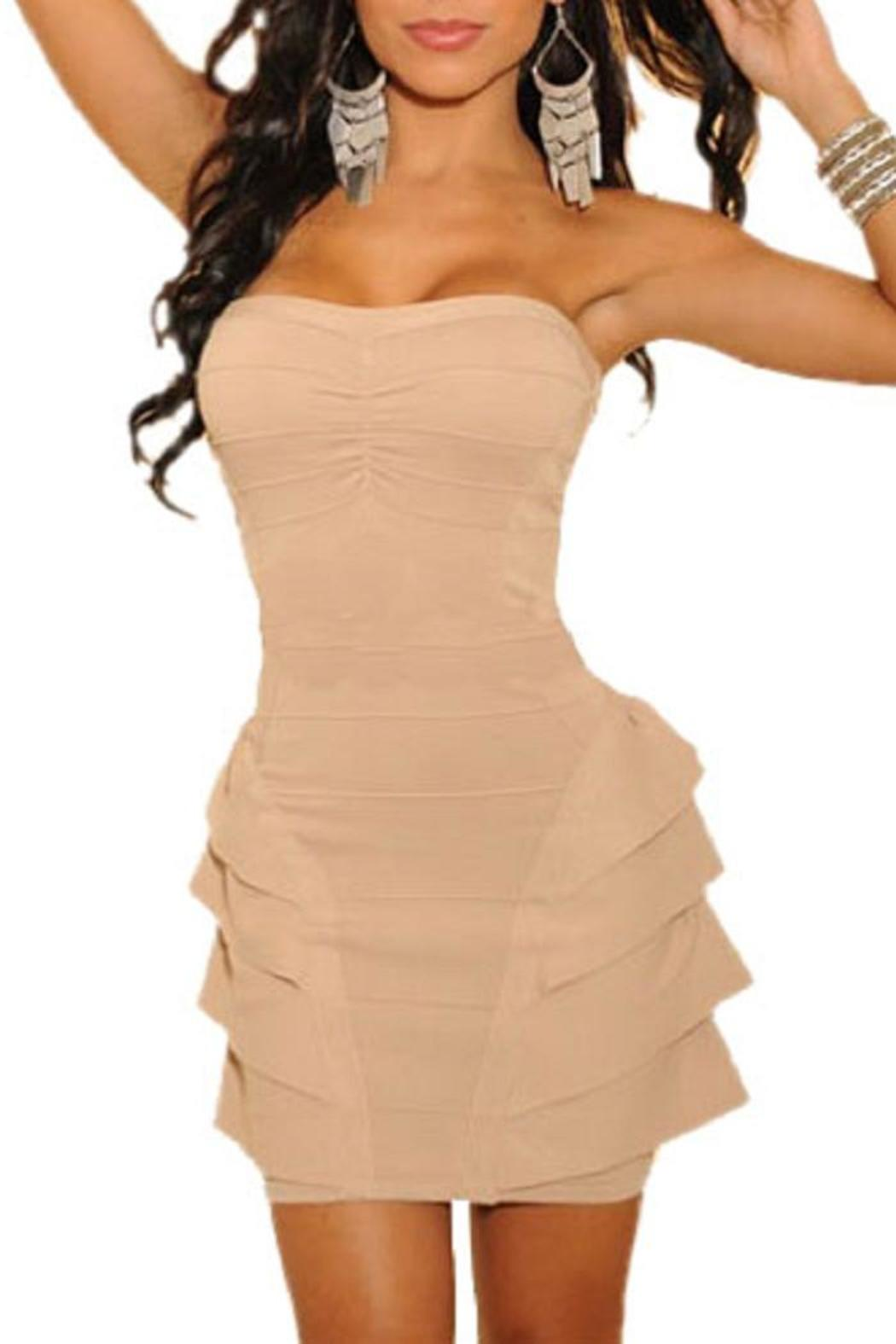 Adore Clothes & More Ruffled Strapless Dress - Front Cropped Image
