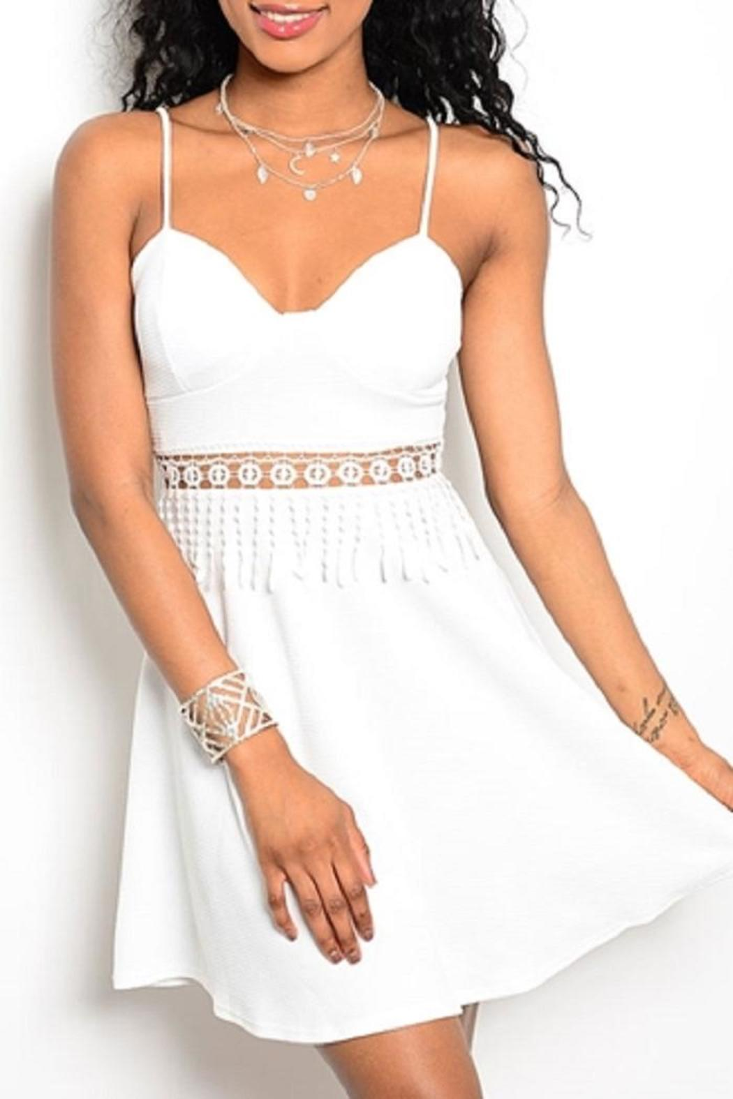 Adore Clothes & More White Fringe Dress - Main Image