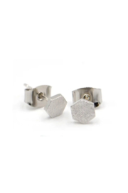 Adorn512 Hex Stud Earrings - Front cropped