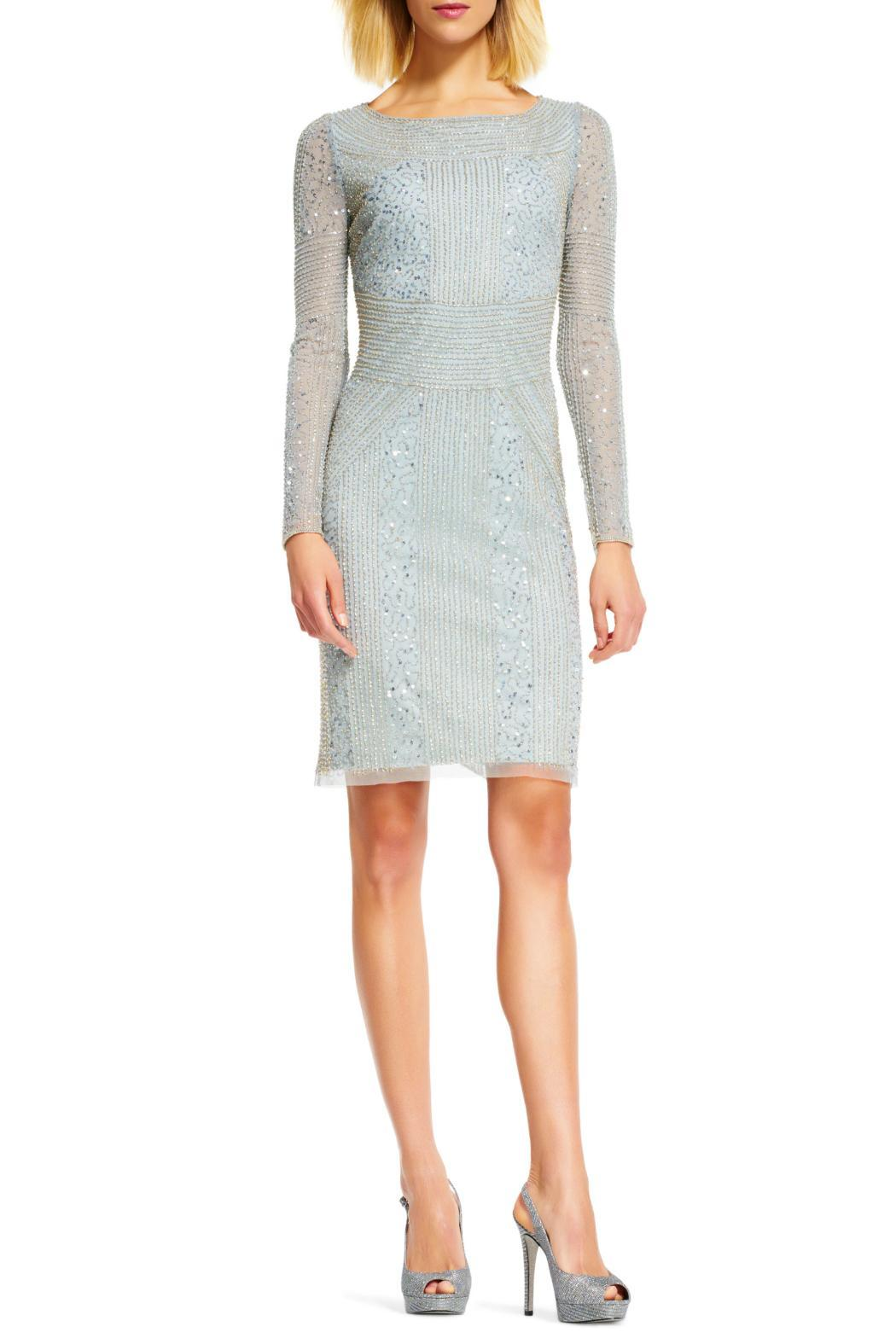 Adrianna Papell Long Sleeves Beaded Dress - Front Full Image