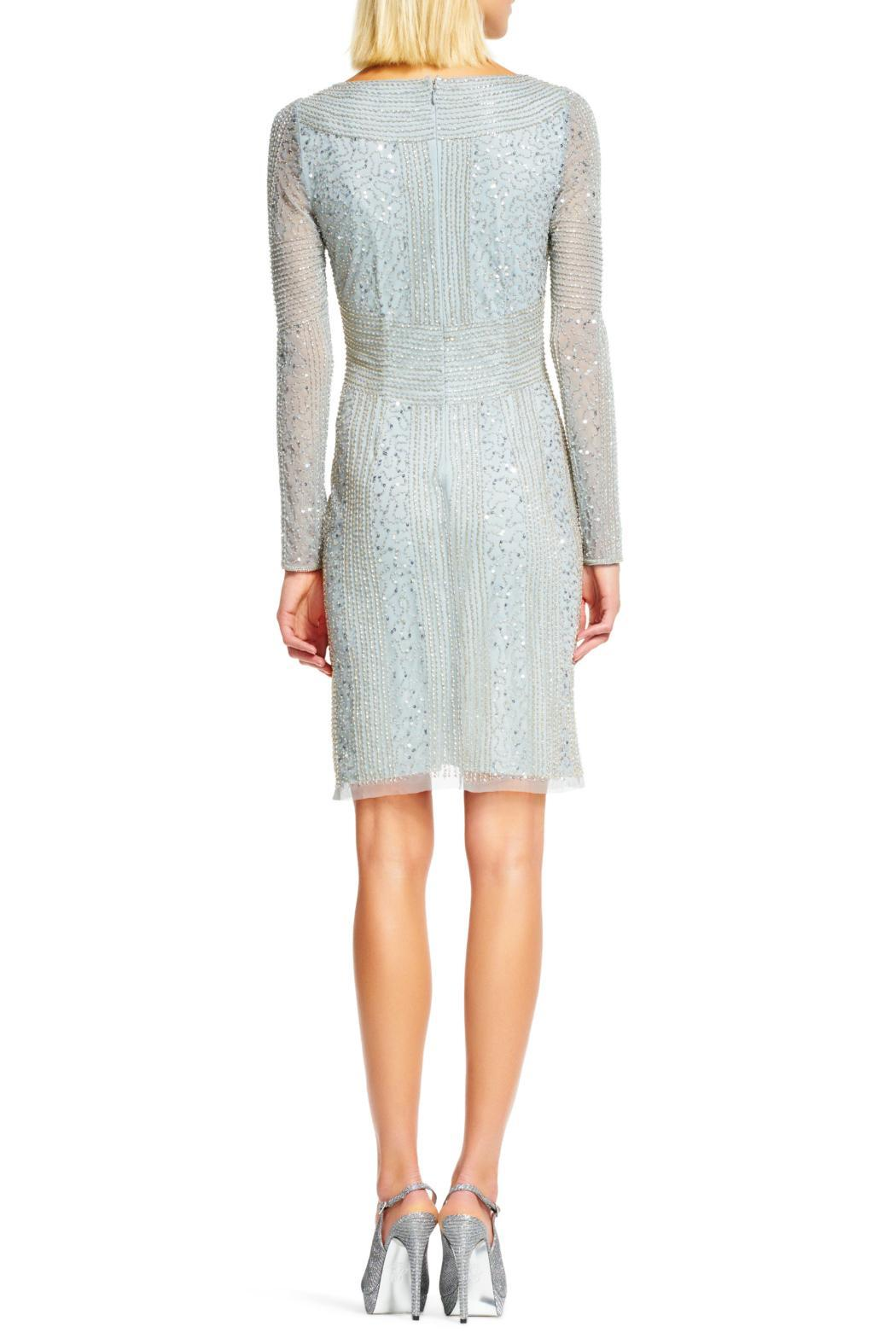 Adrianna Papell Long Sleeves Beaded Dress - Side Cropped Image