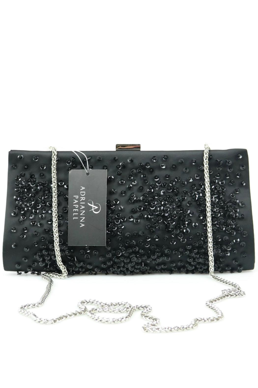 Adrianna Papell Norah Black-Beaded Clutch - Side Cropped Image
